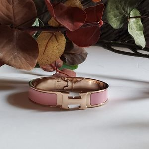 Rose Gold Pink Enamel Bangle Bracelet